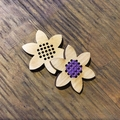 Mini wood flower cross stitch for home decor
