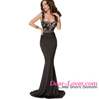 High Quality Wholesale Maxi Lace V Back Top Mermaid Party Long Evening Dresses