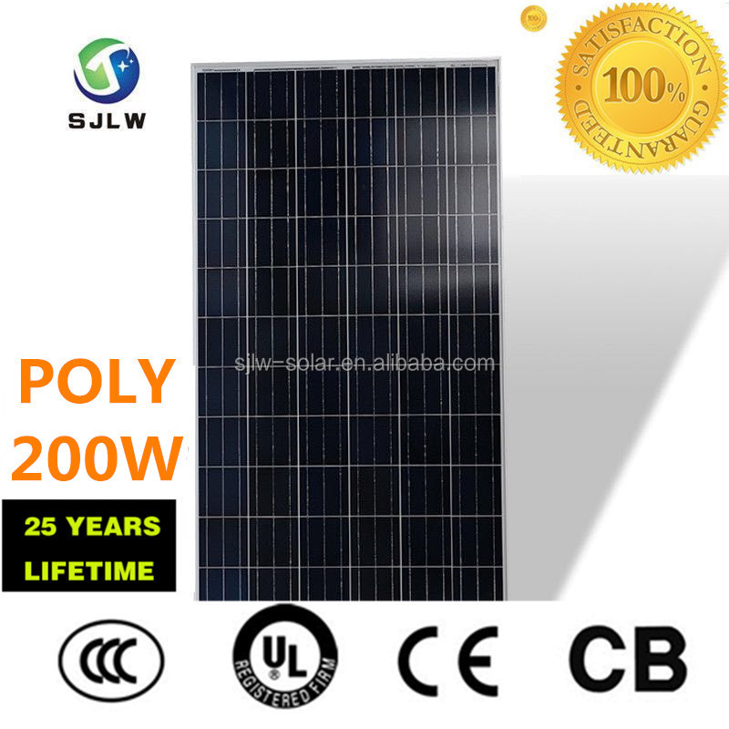 ISO TUR CE top quality and low price 200W poly Solar panel with 25years performance guarantee