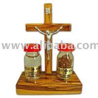 Holy Land Treasures Gift Set with Olive Wood Cross & Crucifix