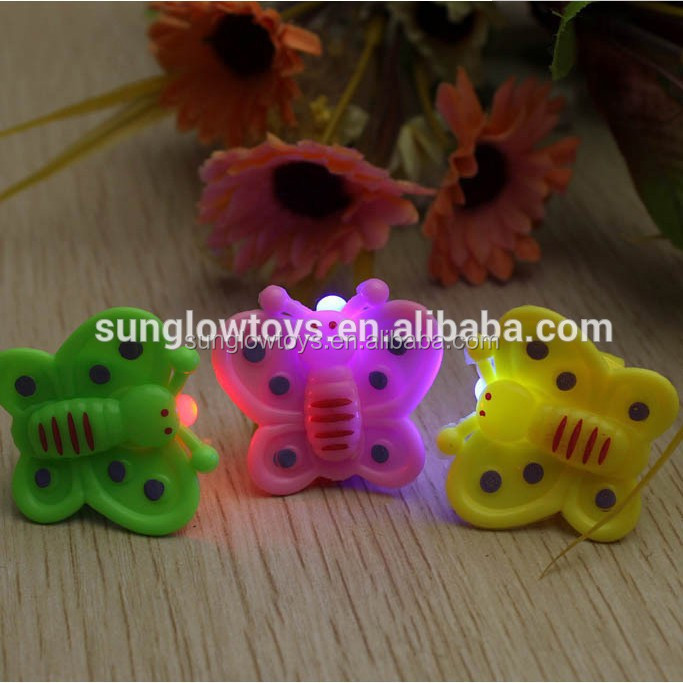 customize plastic butterfly shape led 7 color changing flash finger light