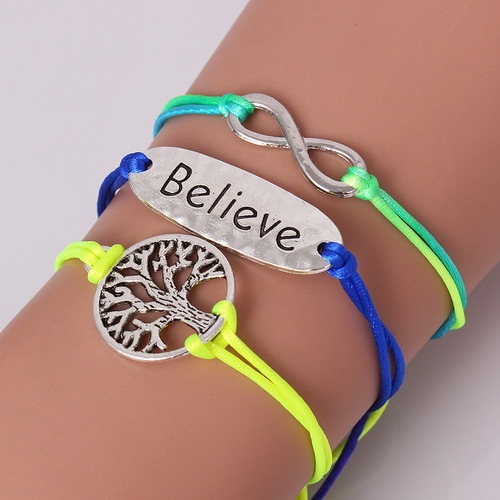 1pcs New Fashion Heart Mouse Life Tree love Charm Bracelets & Bangles Silver Bracelet(Random Color)