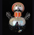 Wholesale cheap high quality LED light glass snowman with snowflakes