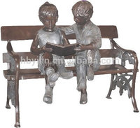 Bronze art garden decorations, bronze garden ornaments, girl and boy reading on bench statues