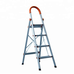 3 step home used ladder with handrail lightweight aluminio folding D shape stair