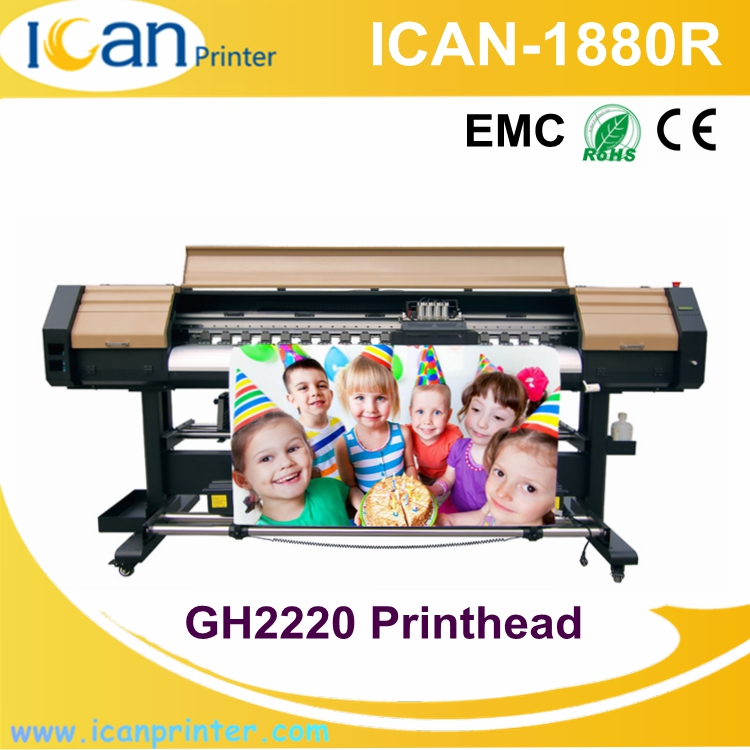 Cheap price of flex 1.88m car vinyl wrap machine GH2220 heads pvc panel printing machine