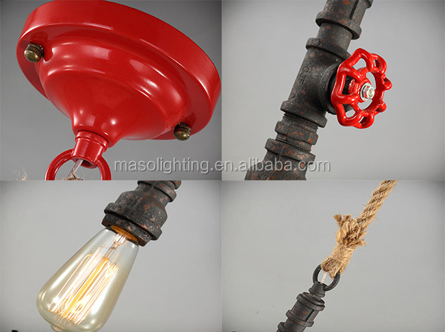 Water Pipe Ceiling Pendant Light Fixture Retro Loft Antique Finish Chandelier Light Industrial Pendant Lamp MS-P6018