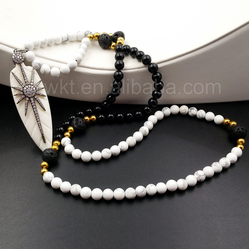 WT-N923 Gorgeous arrowhead Carved Buffalo Bone With charm Cubic Zircon Micro Pave White and Black Bead Necklace for women