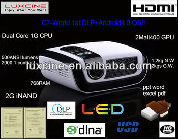 World 1st Android4.0 OS projector mobile phone china with WIFI and DLNA technology