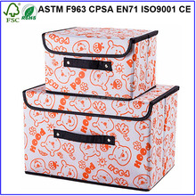 Custom decorative fabric foldable storage box with lid