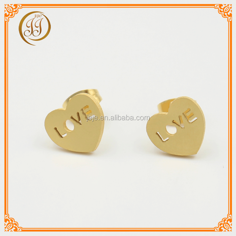 Best Quality Stainless Steel Jewelry Wholesale Earrings Stylish Golden Heart Stud Earrings With Love Letters