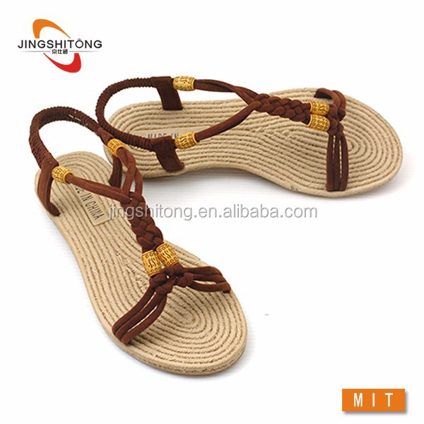 New style girls flat shoes summer sandals hemp rope sandals