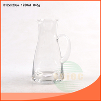 1250ml clear glass jug water pitcher / transparent glass beer jug with handle
