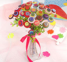 Colorful Button Flowers Handicraft Works