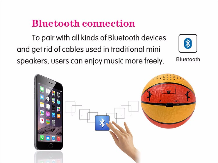 Play Enjoy Music Mini Bluetooth Basketball Portable Speaker