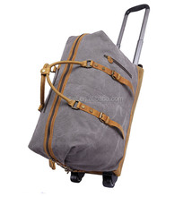New men's trolley bag large capacity luggage travel portable canvas cowhide trolley bag