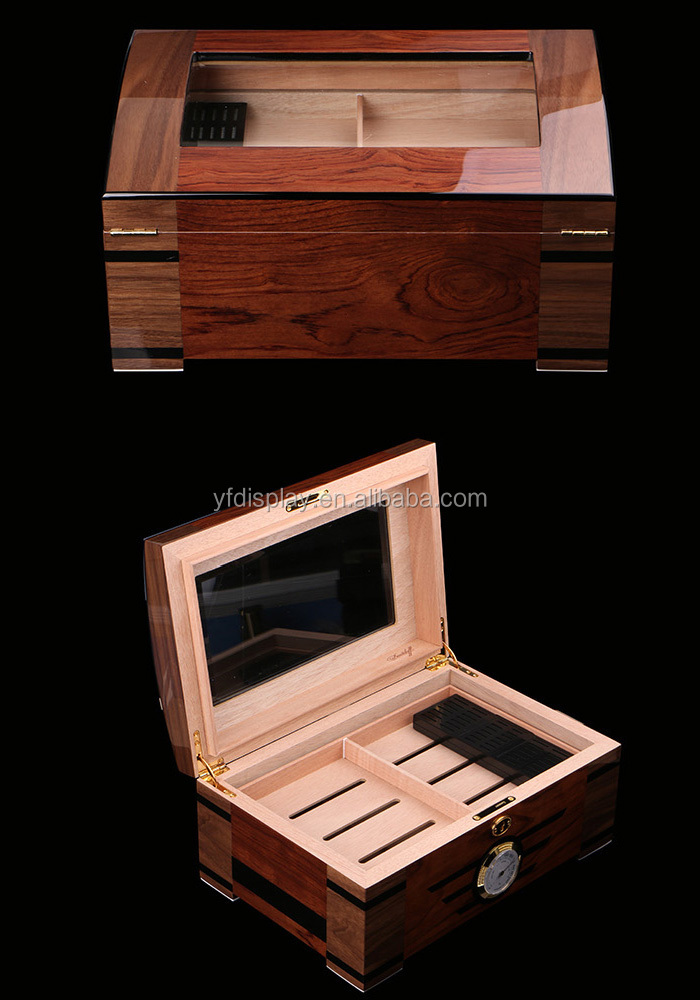 Wooden Cigar Box with Humidor and lock has a transparent window made of acrylic