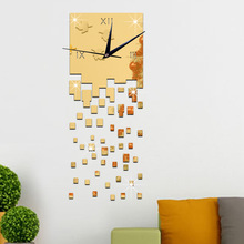 3D Modern Style Self-adhesive Acrylic Mirror Wall Clock DIY Wall Sticker Clock for Home Decoration