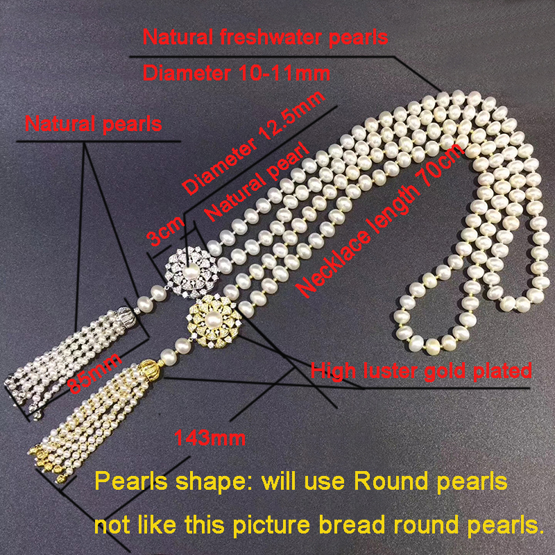 Sinya Tassels fashion Sweater chain Round Natural pearls Strand long necklace for Women Mum lover gold or white gold color optional size