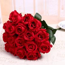 Wholesale Artificial Rose Flower Scenery Plastic Flower Red Rose