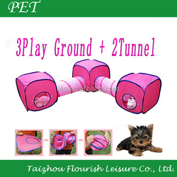 pink color cat tunnel, pet climbing cat tunnel, paw print sisal cat tunnel