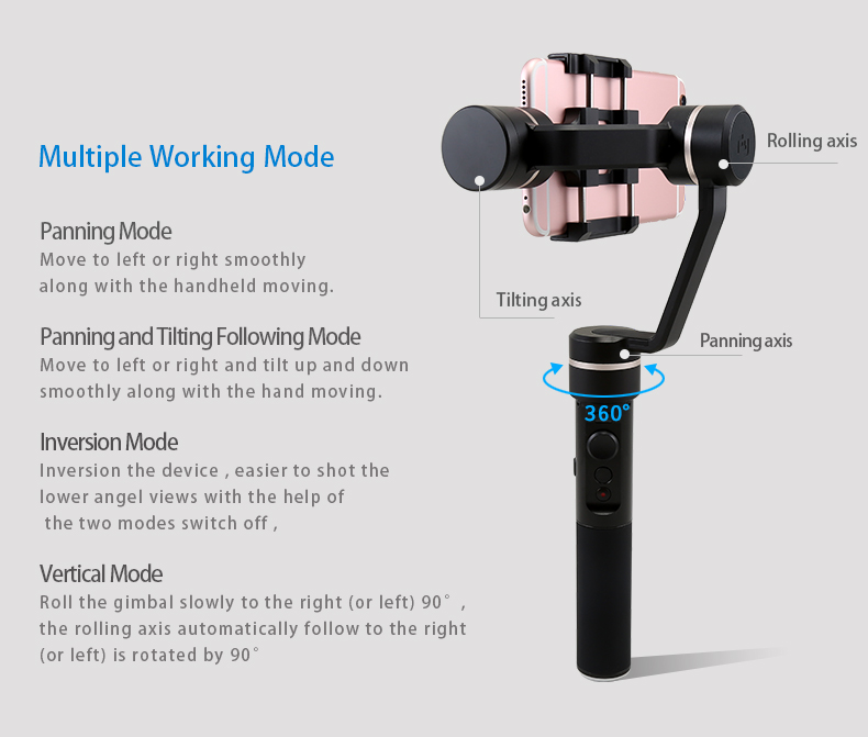 2018 Factory Directly FeiyuTech 3-axis handled SPG gimbal for smartphone/actioncam iPhone/Samsung/ Huawe i/ GoP ro