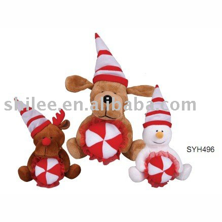 Plush christmas santa claus with long leg rope toy