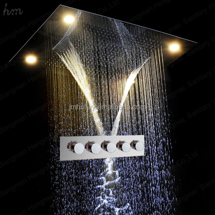 led shower faucet,600x800mm embed ceiling rain shower,led multi color remote control electric shower rainfall,waterfall,misty