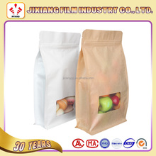 Food grade kraft paper flat bottom pouch with window and ziplock for snack/candy/cookie/dried food packing