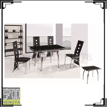 Tempered glass hideaway dining table and chair set