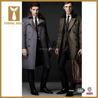 Latest Fashion Design Double Breasted Long Trench Coat Men