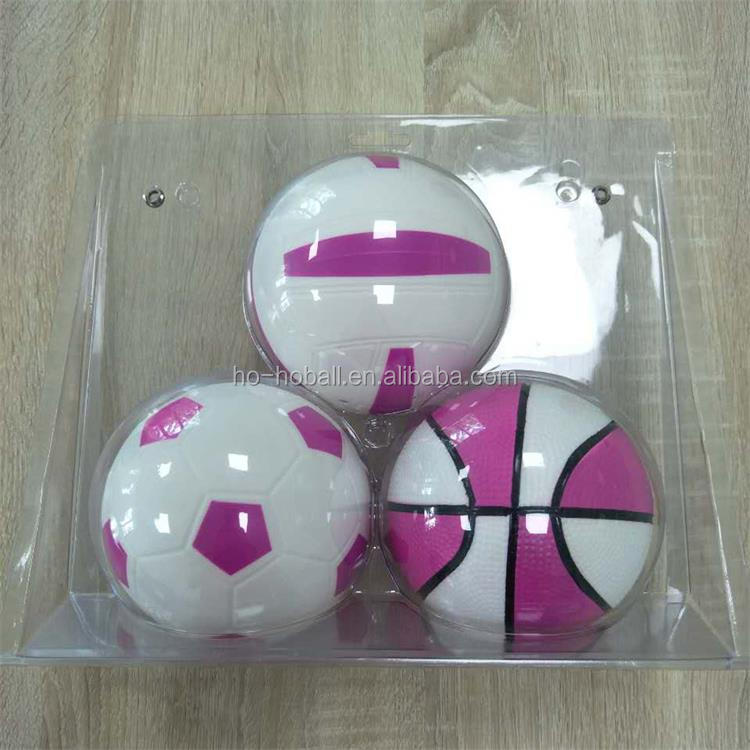 Set of 3 PVC mini sports balls for kids (volleyball, basketball, soccer)