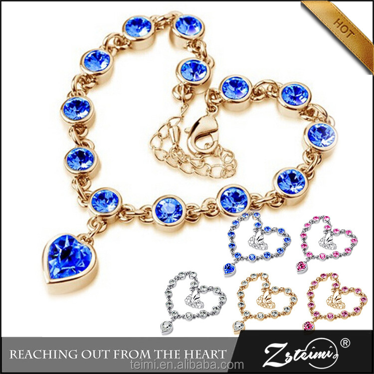 Crystal <strong>Accessories</strong> Silver Sapphire Heart Bracelet