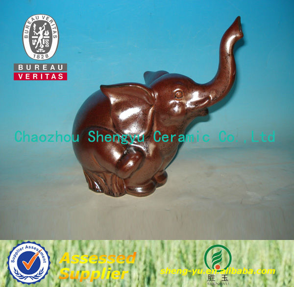 2014 handicraft garden antique red ceramic elephant