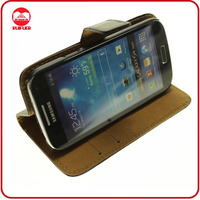 Hot Selling Pouch Stand Genuine Leather Wallet Case for Samsung Galaxy S4 Mini