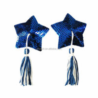 Newest sexy blue sequin star shape tassel girls sexy nipple cover