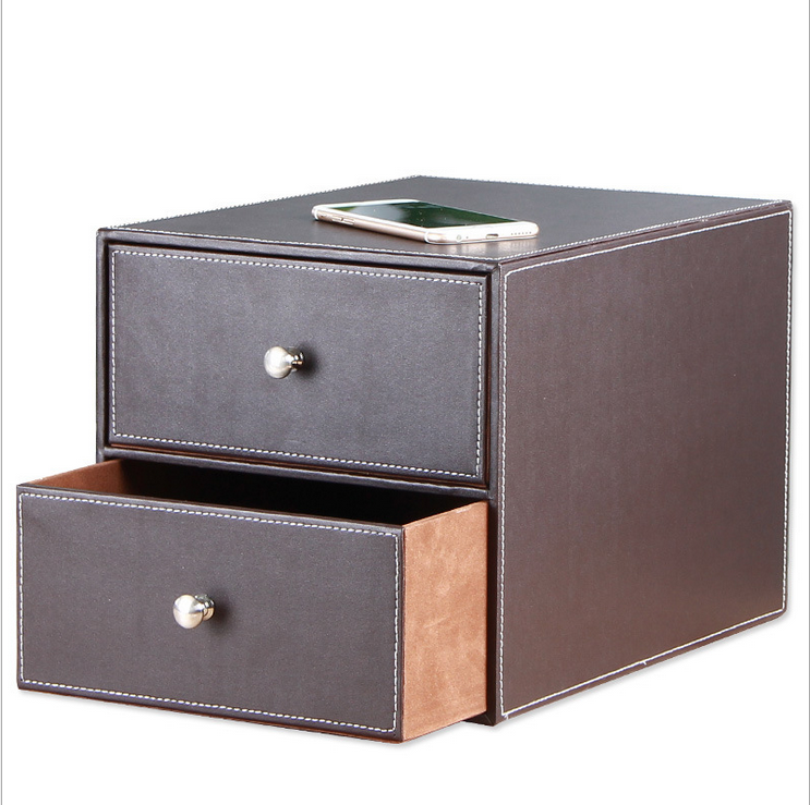 Double drawer leather file boxes, gift boxes factory directly sell