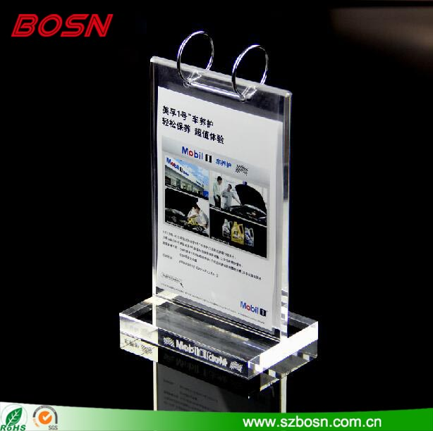 High Quality Table Top Acrylic ring flip menu holder