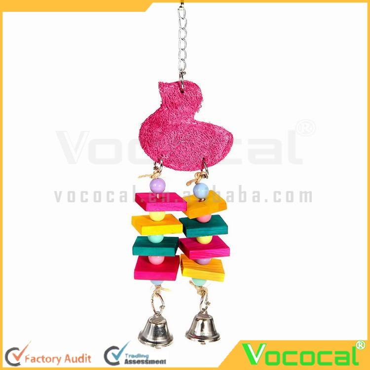 Colorful Small Wooden Board Pet Parrot Bird Toys Swings Cage Toys with Bells