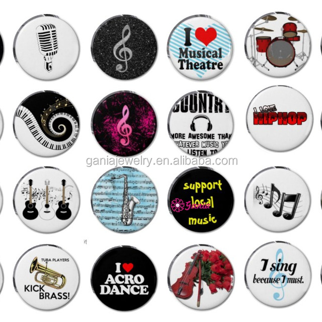 DIY 18mm Cabochon Glass Custom Printed Guitar Piano Music Note Button for Snap Jewelry Bracelet Necklace Ring Earrings