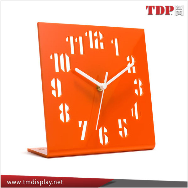 Wholesale Cheap L Shape Orange Plastic Acrylic Table Clock Slanted with Printed Number
