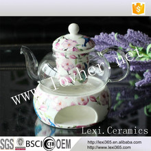 770ML Heat Resistant Glass Teapot Flower Tea Pot With Ceramics Filter Peacock Design For Home,Party and Afternoon Tea