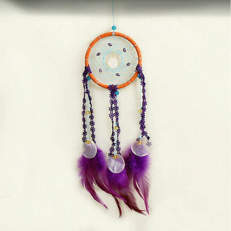 Purple Woven Dream Catcher with Shells Indian Wind Chimes Dreamcatcher Car Pendant Vintage Home Decor Rattan Craft Free Shipping