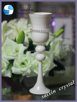 Beautiful white glass cup candle holders for wedding centerpieces
