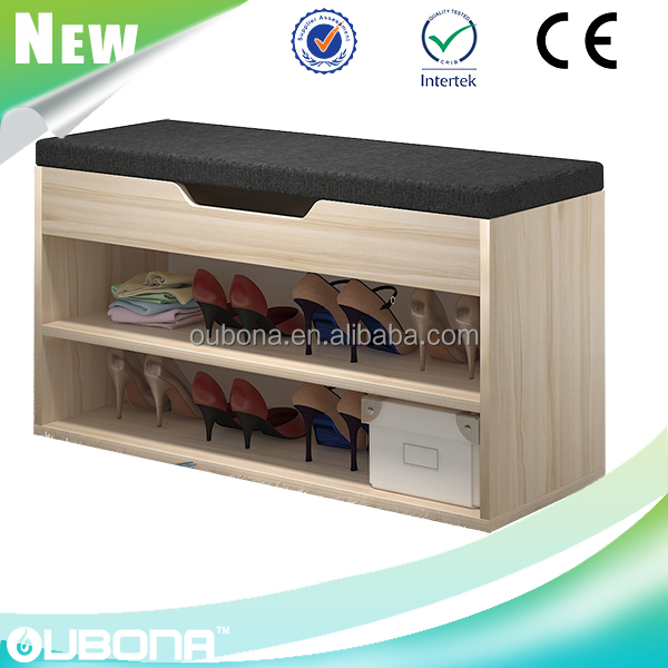 shoe storage bench with cubbie & fabric seat cushion for mud room shelves rack organizer space