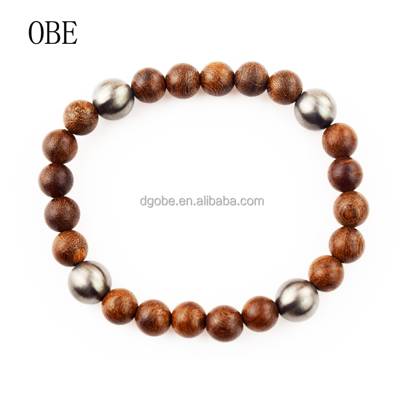 HOT Fashion OBE Custom Wooden Buddha Beads Bracelet with the Stainless steel bead