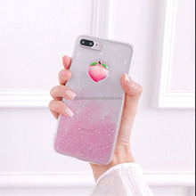 Glitter Phone Cases for iPhone X 10 8 7 7S 6 6S Plus Case Soft TPU Bling Fruit Strawberry Honey Juicy Peach Phone Cases
