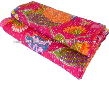 Tropicana Kantha quilts abrics with intricate or floral patterns, beautiful colors with Kantha Tagai work kantha quilts throws