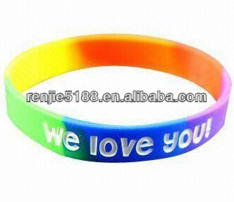 Fluorescent Bracelet/Wristband, Suitable for Adults, Customized Logos are Accepted, Made of Silicone