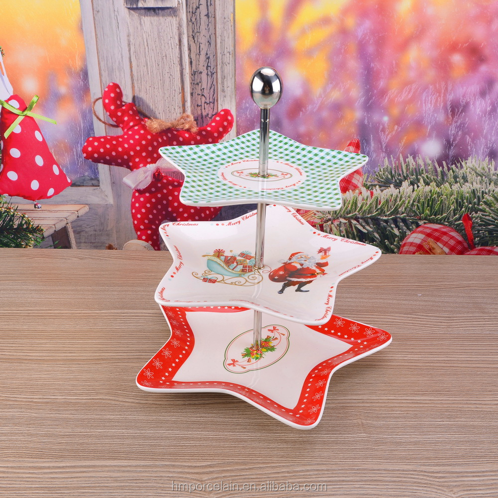 3 Tiers Cake Fruit Tray Stand Christmas Star Ceramic Plate Cupcake White Porcelain Dishes Cake Display Tray
